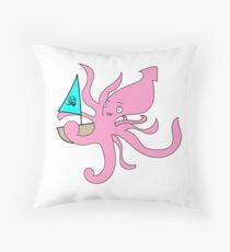 Giant Squid and ship Throw Pillow