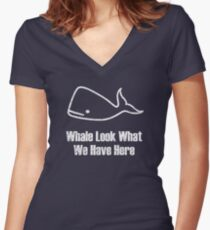 Whale Look What We Have Here - Print Women's Fitted V-Neck T-Shirt