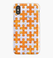 PUZZLE1 WHITE MARBLE & ORANGE MARBLE iPhone Case