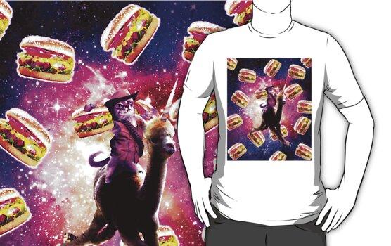 Cowboy Space Cat On Alpaca Unicorn With Burger