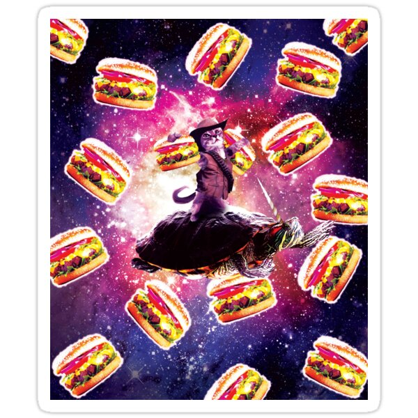 Cowboy Space Cat On Turtle Unicorn With Burger