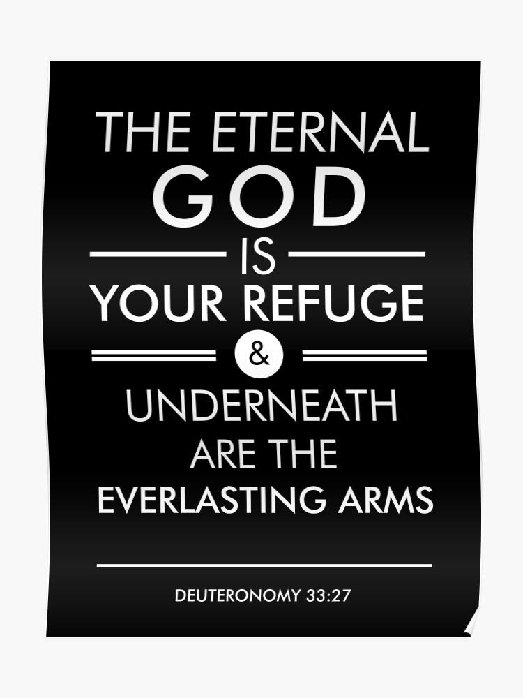 Deuteronomy 33-27 - Spiritual Wall Art - Bible Verses Art - Minimalist  Scripture Black   Poster