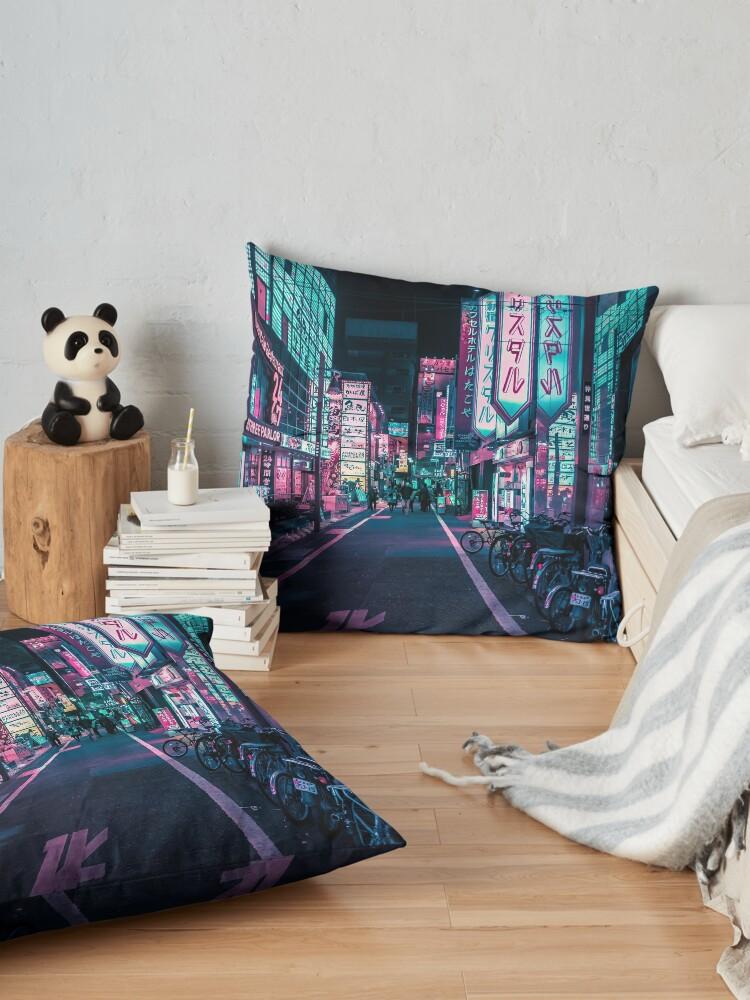 Alternate view of Tokyo - A Neon Wonderland  Floor Pillow