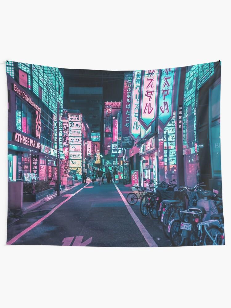 Alternate view of Tokyo - A Neon Wonderland Wall Tapestry