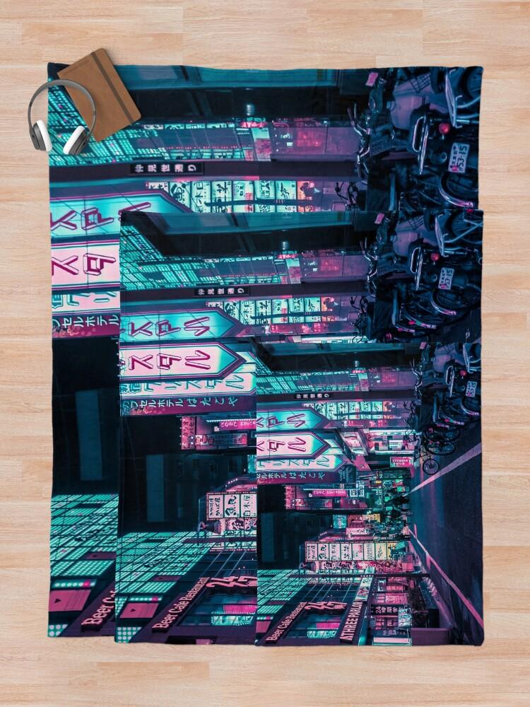 Alternate view of Tokyo - A Neon Wonderland Throw Blanket