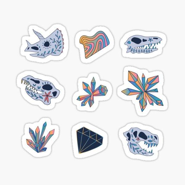 Geology. Crystals. Dinosaurs skulls. Sticker