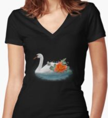 Swan swans with baby Women's Fitted V-Neck T-Shirt