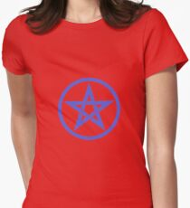 Navy Blue Pentacle on Red Women's Fitted T-Shirt