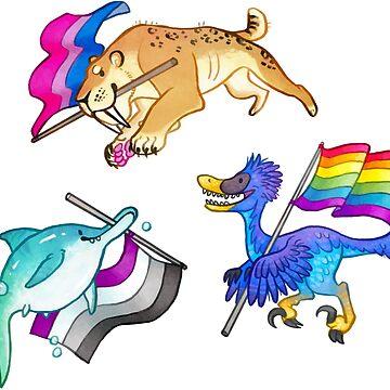 Prehistoric Pride Stickers! (Velociraptor, Smilodon, and Ichthyosaur) by vainglory