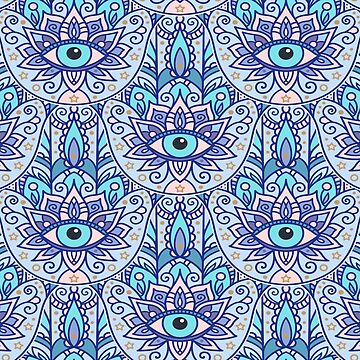 Amulet and paisley - teal azure by peggieprints