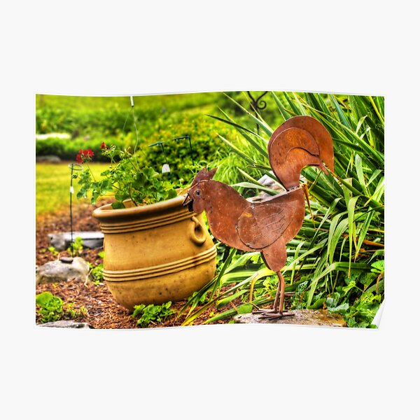 Rooster In The Garden Poster