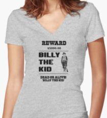billy the kid criminal wild west cowboy Women's Fitted V-Neck T-Shirt