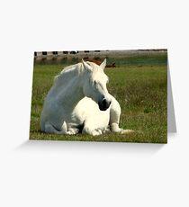White Unicorn Sunbathing Greeting Card