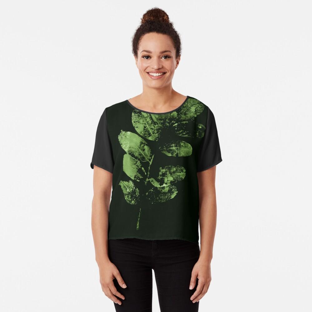 Bezauberndes Grünes Wald Blatt Chiffon Top