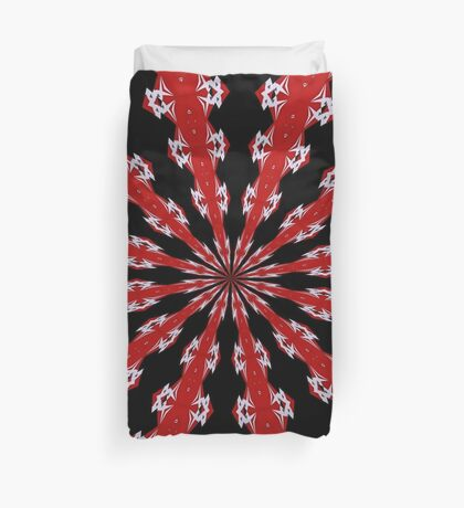 Red Black and White Abstract Duvet Cover