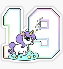 cute number 19 unicorn rainbow pastel Sticker