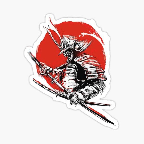 Guerrero Samurai al atardecer Pegatina