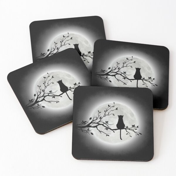 The Cat And The Moon Coasters (Set of 4)