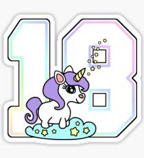 cute number 18 unicorn rainbow pastel Sticker