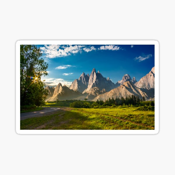 composite landscape with rocky peaks at sunset Sticker