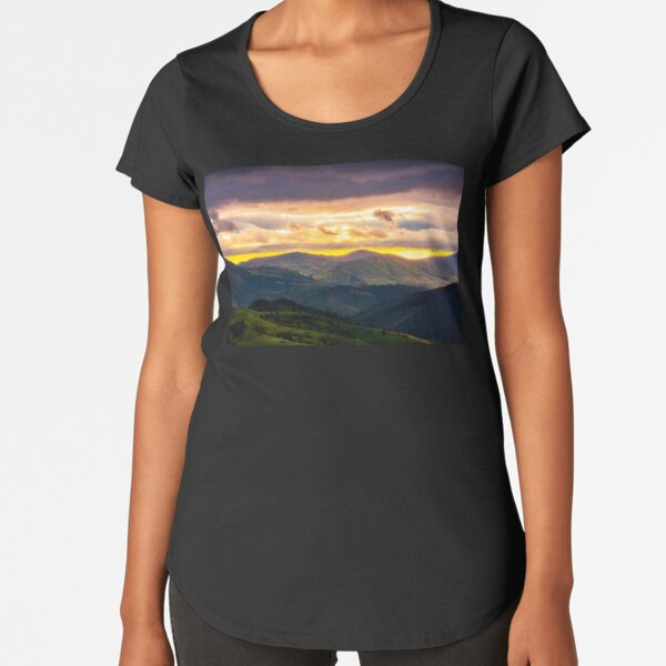 mountain rural area in springtime at cloudy sunset Premium Scoop T-Shirt