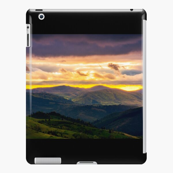 mountain rural area in springtime at cloudy sunset iPad Snap Case