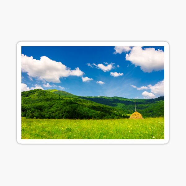 haystack on a grassy pasture in mountains Sticker