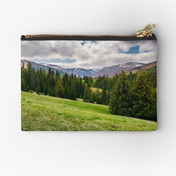 beautiful landscape with spruce forest Zipper Pouch