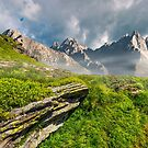 rocky peaks and rocks on hillside in Tatras by mike-pellinni