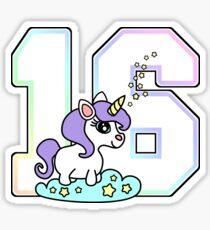 Number 16 cute unicorn rainbow pastel Sticker