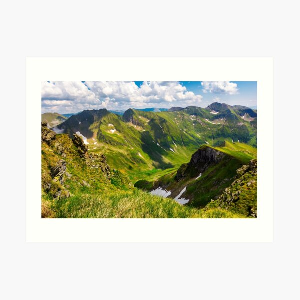 valley with snow in summer mountains Art Print