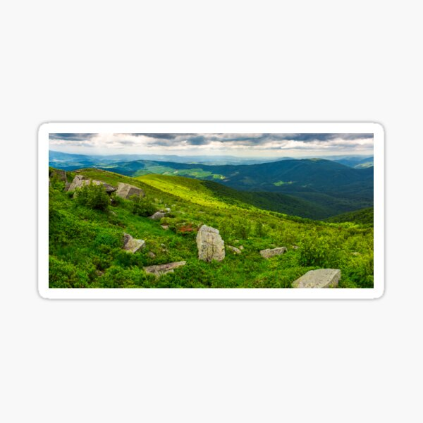 panorama of Runa mountain with boulders on hills Sticker