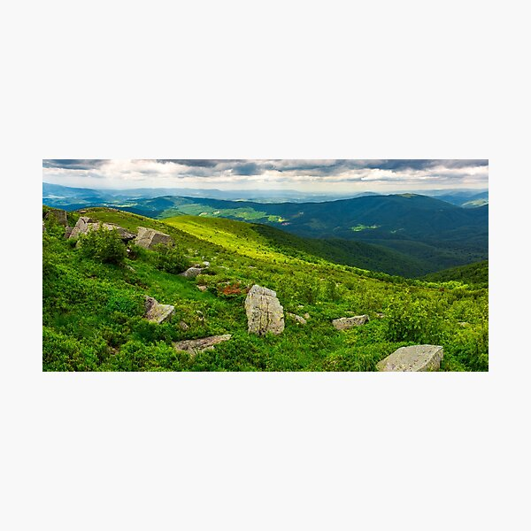 panorama of Runa mountain with boulders on hills Photographic Print