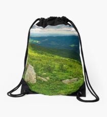 panorama of Runa mountain with boulders on hills Drawstring Bag
