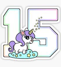 Number 15 cute unicorn rainbow pastel Sticker