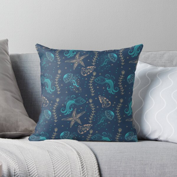 Coastal Blues Fancy Fish And Jellyfish Print Throw Pillow