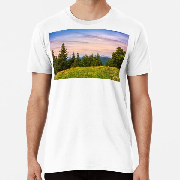 forested hills over the Brustury valley at dusk Premium T-Shirt