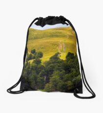 path through birch forest to the mountains Drawstring Bag