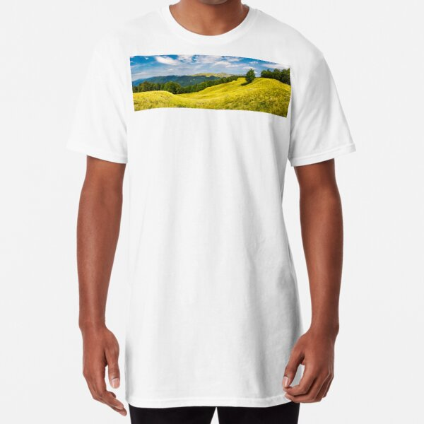 panorama with trees on the grassy hillside Long T-Shirt
