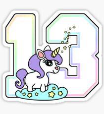 Number 13 cute unicorn rainbow pastel Sticker