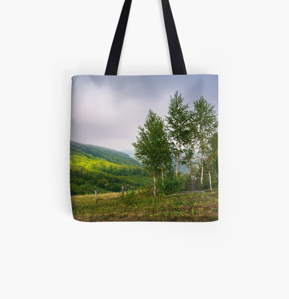 birch trees on a hillside in autumn All Over Print Tote Bag