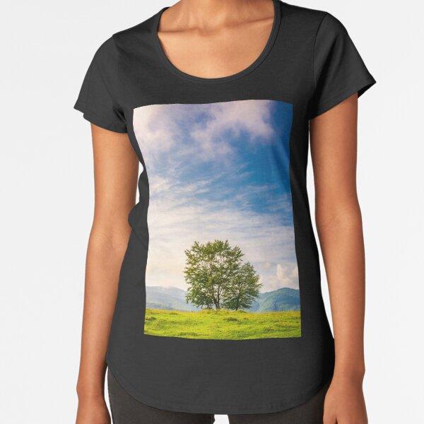 few trees on edge of a hillside at sunrise Premium Scoop T-Shirt