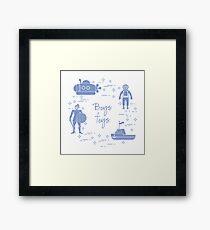 Knight, submarine, diver, ship. Children's toys. Framed Print