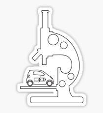 Microscope, electric car. Sticker