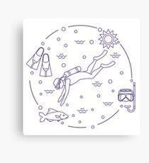 Mask, snorkel, flippers, sun, fish, scuba diver. Canvas Print