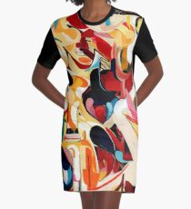 Expressive Abstract Composition painting  Graphic T-Shirt Dress