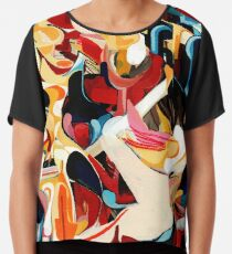 Expressive Abstract Composition painting  Chiffon Top