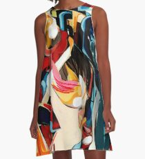 Expressive Abstract Composition painting  A-Line Dress