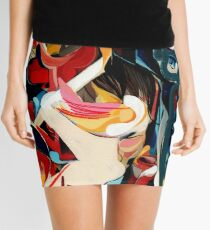 Expressive Abstract Composition painting  Mini Skirt