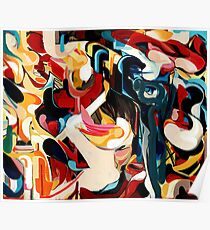 Expressive Abstract Composition painting  Poster